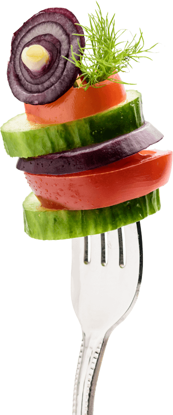 Veggies on fork